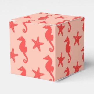 Seahorse y estrellas de mar - sombras del naranja caja para regalos