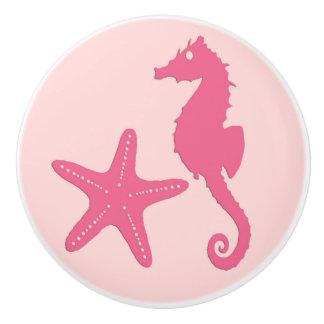 Seahorse y estrellas de mar - sombras del rosa pomo de cerámica