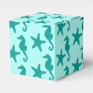 Seahorse y estrellas de mar - turquesa y caja para regalo de boda