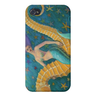 Seahorse y estrellas del caso del iphone 4 del art iPhone 4/4S funda