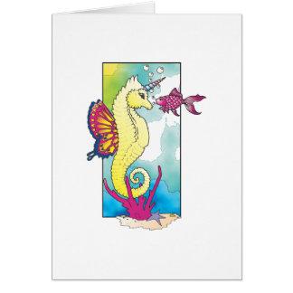 seahorse y pescados de la mariposa felicitaciones