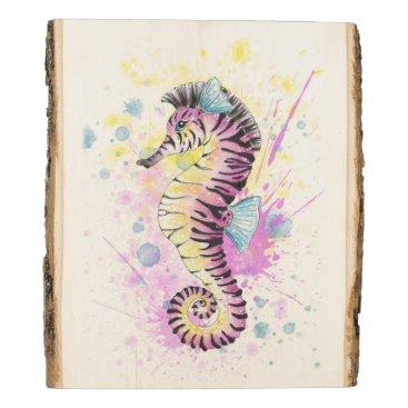 Art Themed Seahorse Zebra Watercolor Ink Splash Wood Panel
