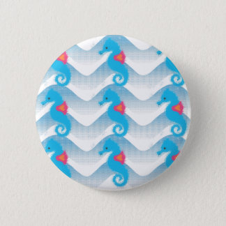 Seahorses And Blue Waves Pattern Pinback Button