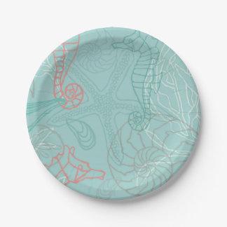 Seahorses and Seashell Theme Motif Plates