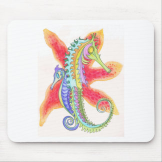 Seahorses and starfish mouse pad