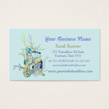Professional Business Seahorses Aqua Business Cards Double - Sided