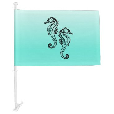 Beach Themed Seahorses Aqua Car Flag