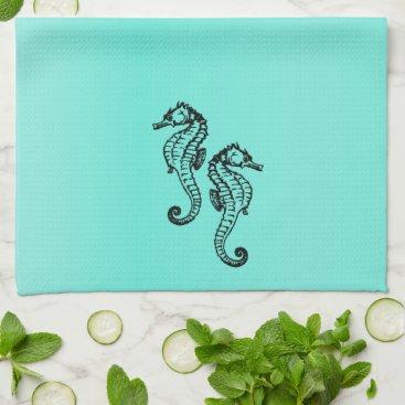 Beach Themed Seahorses Aqua Hand Towel