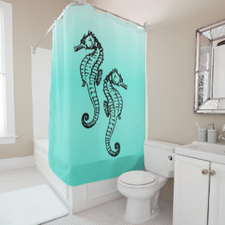 seahorses aqua shower curtain