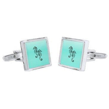 Beach Themed Seahorses Aqua Silver Cufflinks
