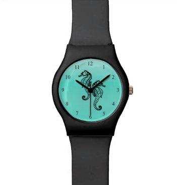 Beach Themed Seahorses Aqua Wrist Watches