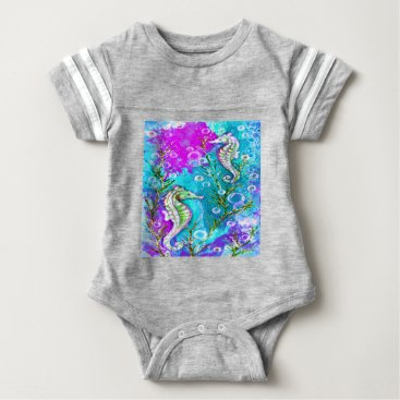 Beach Themed Seahorses Baby Bodysuit