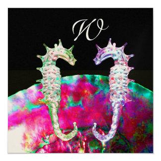 SEAHORSES BEACH WEDDING MONOGRAM, pink blue black Card