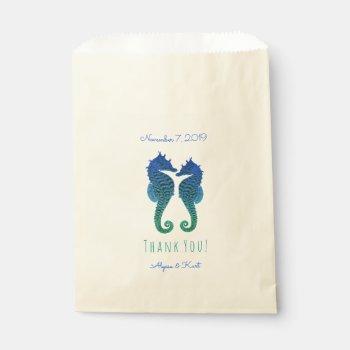 Seahorses Blue Green Beach Wedding Favor Favor Bag