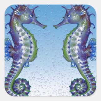 Seahorses Blue Love Square Sticker