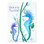 """Seahorses Cartoon Invitation 5"""" X 7"""" Invitation Card"""