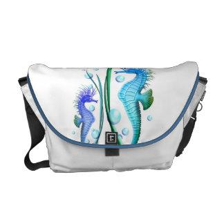 Seahorses Cartoon Rickshaw Messenger Bag
