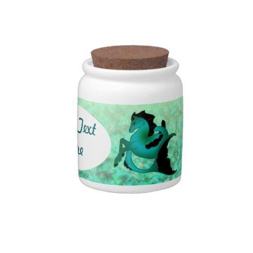 Seahorses de la turquesa jarra para caramelo