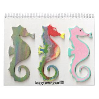 ¡SEAHORSES del ARCO IRIS, Feliz Año Nuevo!!!!! Calendarios De Pared