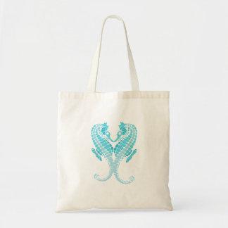 Seahorses del azul de PixDezines Bolsa Tela Barata