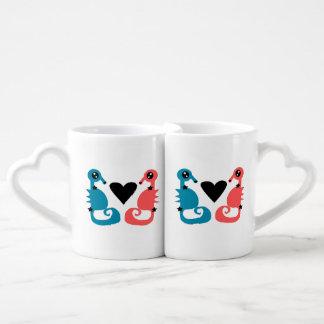 Seahorses divinos del amor del doble del amor set de tazas de café