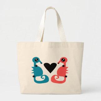 Seahorses divinos en amor bolsa tela grande