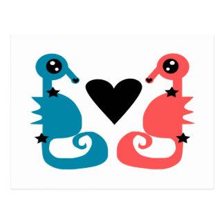 Seahorses divinos en amor tarjeta postal