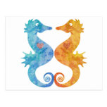 Seahorses en amor tarjetas postales