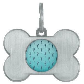 Seahorses en azul placa de mascota