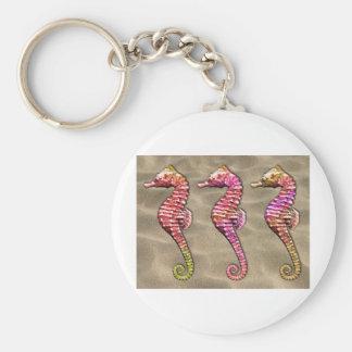 Seahorses en la arena llavero personalizado