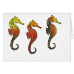 Seahorses esmaltados de oro felicitacion