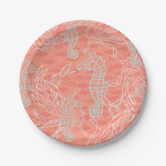 Seahorses in Aqua with Bright Orange Background Paper Plate