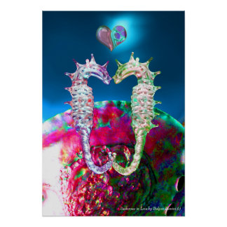 SEAHORSES IN LOVE AND PINK BLUE MOTHER OF PEARL POSTER
