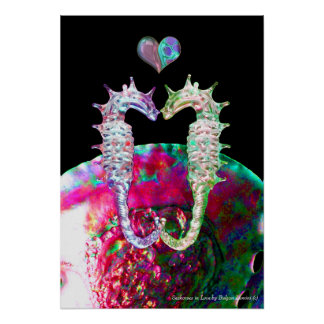SEAHORSES IN LOVE AND PINK MOTHER OF PEARL POSTER