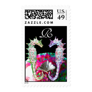 SEAHORSES IN LOVE,MOTHER OF PEARL BEACH WEDDING POSTAGE
