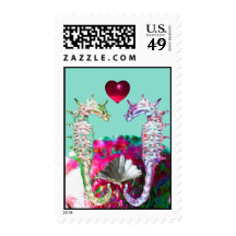 SEAHORSES IN LOVE,MOTHER OF PEARL BEACH WEDDING STAMPS