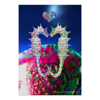SEAHORSES IN LOVE , PINK BLUE MOTHER OF PEARL POSTER