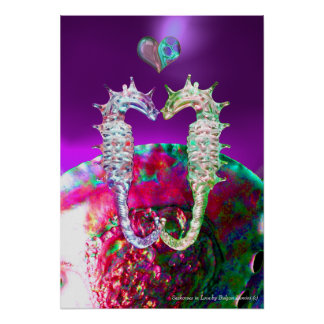 SEAHORSES IN LOVE PINK BLUE PURPLE MOTHER OF PEARL POSTER