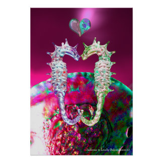 SEAHORSES IN LOVE PINK FUCHSIA MOTHER OF PEARL POSTER