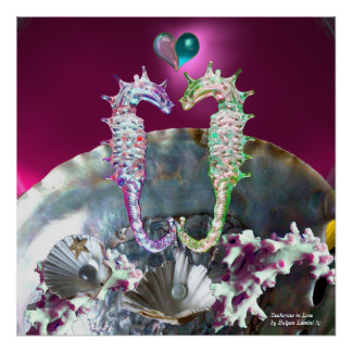 SEAHORSES IN LOVE , PINK TEAL BLUE MOTHER OF PEARL POSTER