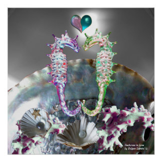 SEAHORSES IN LOVE , PINK WHITE MOTHER OF PEARL POSTER
