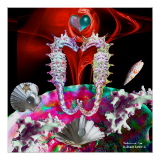 SEAHORSES IN LOVE ,RED PINK BLUE MOTHER OF PEARL POSTER