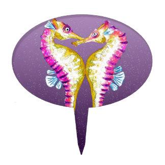 Seahorses Kiss Purple Cake Topper