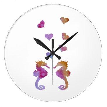 Beach Themed Seahorses Large Clock