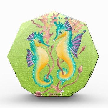Beach Themed seahorses lime stained glass acrylic award