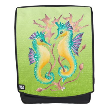 seahorses lime stained glass backpack
