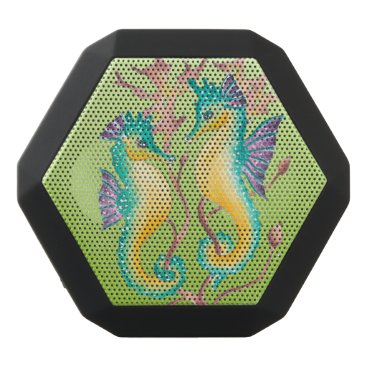Beach Themed seahorses lime stained glass black bluetooth speaker