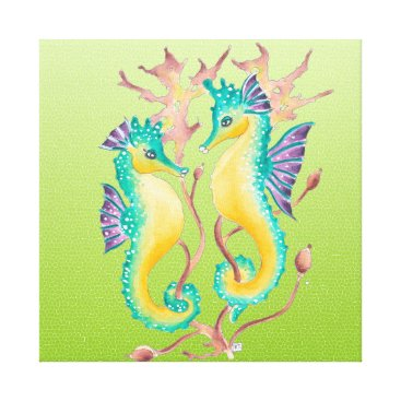 Beach Themed seahorses lime stained glass canvas print