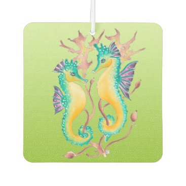 Beach Themed seahorses lime stained glass car air freshener