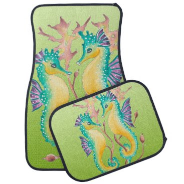 Beach Themed seahorses lime stained glass car mat